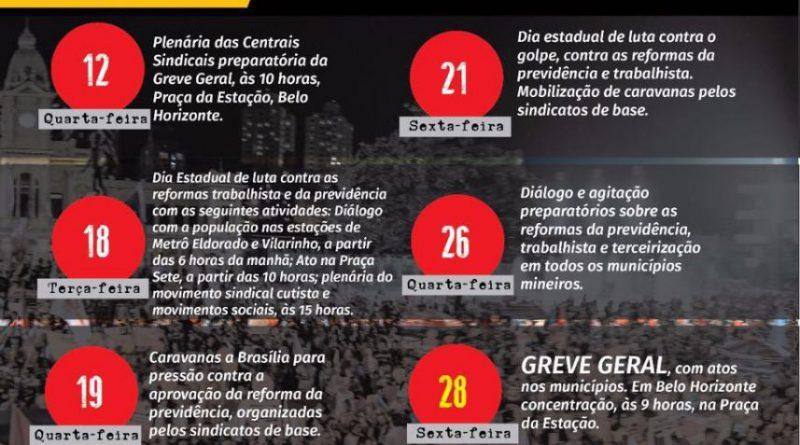 CUT Minas Calendario de Lutas