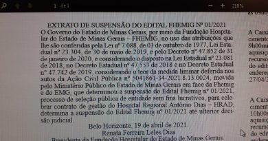 Vitória dos trabalhadores! Justiça suspende edital de terceirização da gestão do Hospital Regional de Patos de Minas e Governo recua